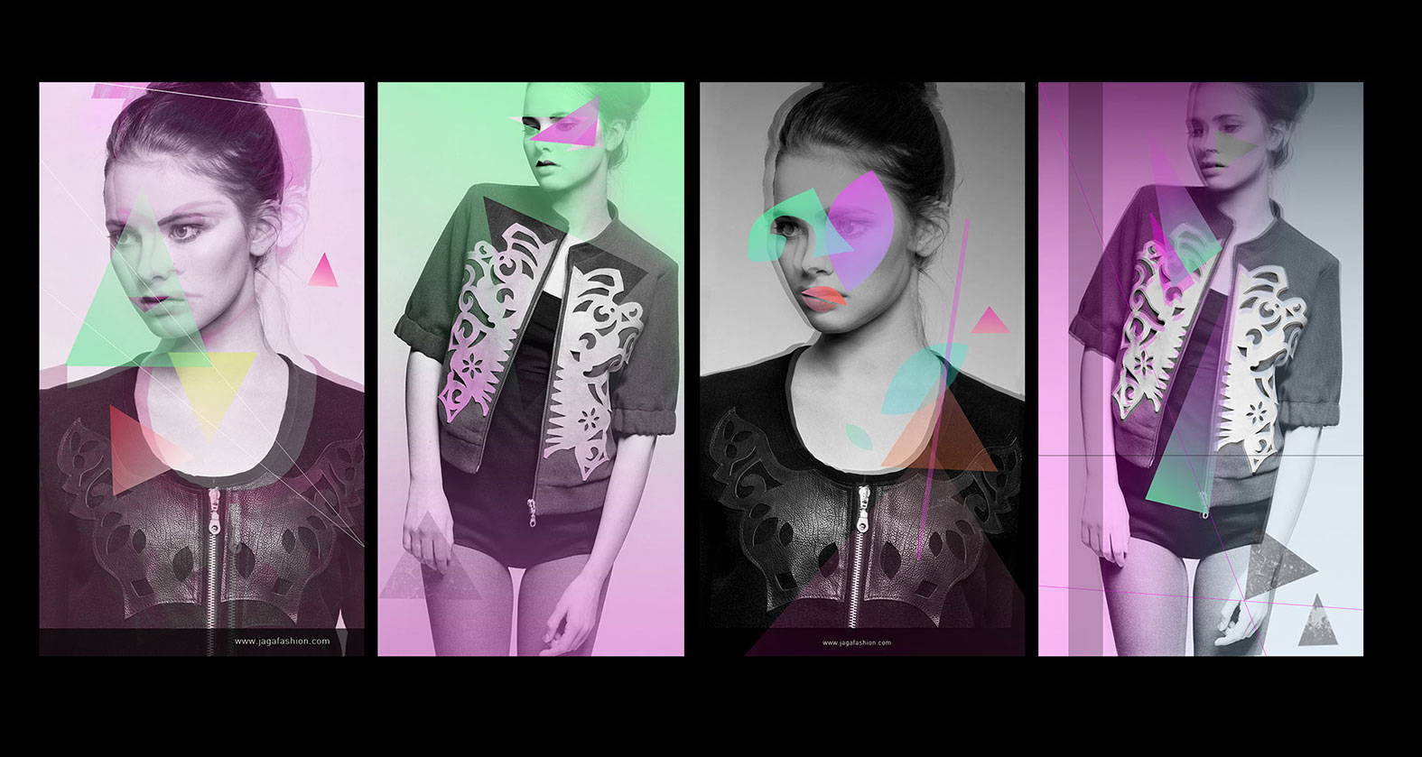 Collage of photographs with Jaga Drzewiecka clothes