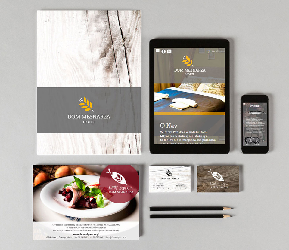 Branding para o hotel Dom Młynarza: site, business card, flyers