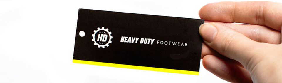 Shoe's labels for brand HD Heavy Duty.