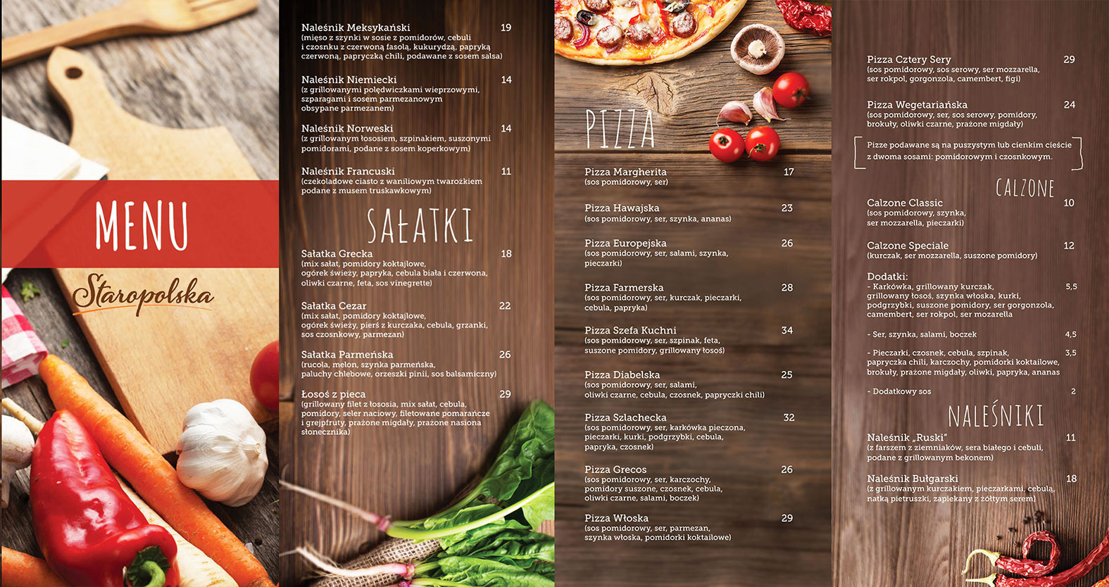 Layout of the menu
